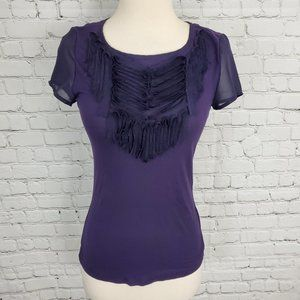 TED BAKER Purple Modal Raw Ruffle T-Shirt Top 1 S